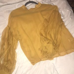 Mustard blouse size S sleeves w ruffle detail